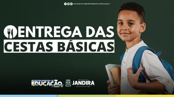 Educação de Jandira começa distribuição de cestas básicas, com itens da merenda escolar